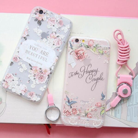 Fashion fresh rose 6S soft phone case for iphone 6 6s 6 Plus 6S Plus