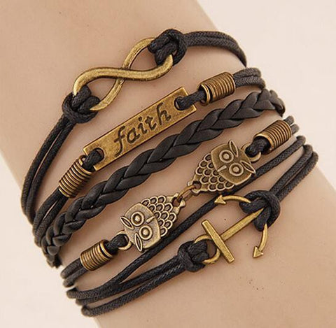 Retro 8  /Faith/ Owl / Anchor Multilayer Woven Wrap Charm Bracelet For Men and Women Wonderful Christmas Gift