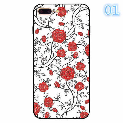 2017 Funny Luxury Colorful Retro Floral Red Rose Flower Abstract Print For iphone 5 5s se 6 6s 7 Plus Clear Back Cover Coque Funda -171204