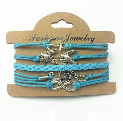 Retro Blue Anchor / Two Bird / Music Notation / 8  Multilayer Woven Wrap Charm Bracelet For Men and Women Wonderful Christmas Gift