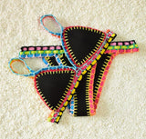Sexy Women Handmade Crochet Bikini Color Knit Suit Spell Color Triangle Swimming Trunks Swimsuit Beach Swimwear