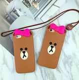 Super Cute Bear Mobile Phone Case For Iphone  5 5s SE 6 6s 6plus 6s plus + Nice gift box!