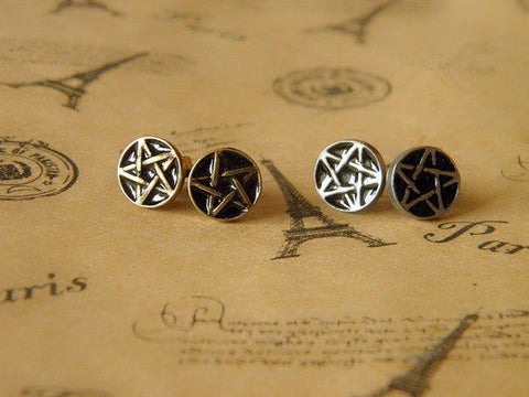 supernatural antqiue circle pentacle earrings