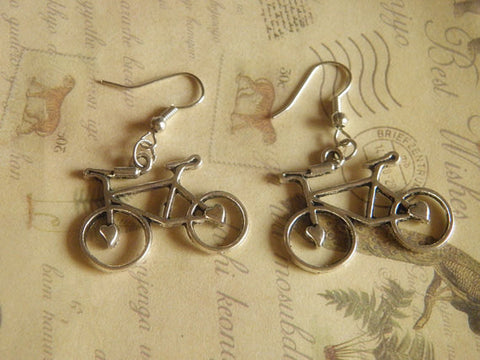 antique silver love bicycle earrings with sterling ear hook