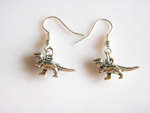 antique silver cute dinosaur earrings