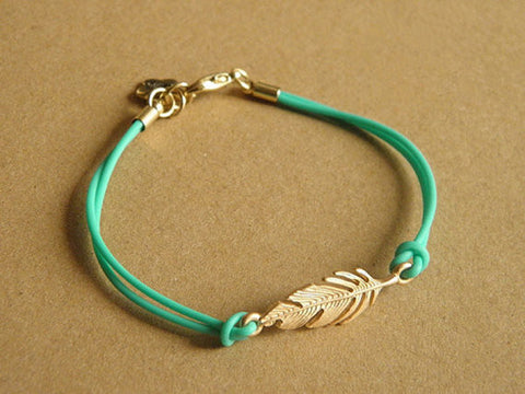 gold tone feather bracelet with green leather cord--3 colors you can choose