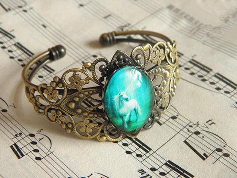antique bronze magic unicorn bracelet