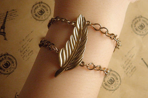 antique bronze personalized leaf bracelet jewelry