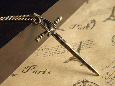antiqur bronze sword necklace jewelry