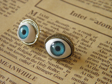 steampunk antique bronze blue devil eye earrings