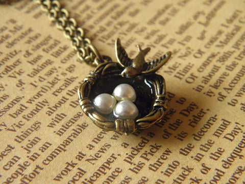 antique bronze bird nest -forever love necklace jewelry