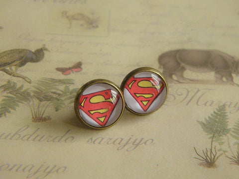 antique bronze superman earrings jewelry for friendship gift lover gift