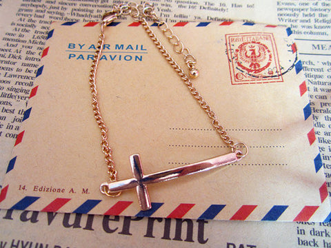 old tone sideways cross bracelet jewelry
