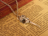 antique silver bird skull steampunk necklace jewelry