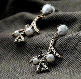 antique bronze tree branch pearl steampunk earrings