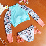 2017 New Arrival Women's Long Sleeve Pin Up Biquini Women Swimwear Sexy Crop Top Bikini Set Tie Dye Modern Outfits Swimsuit -03021