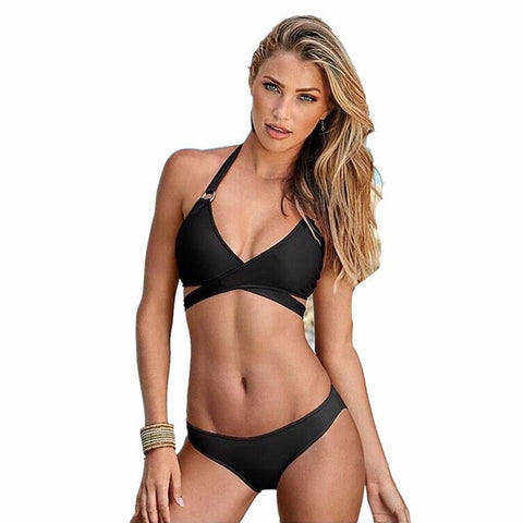2017 New Patchwork Swimwear Women Swimsuit Backless Sexy Bandage Swimsuit Women Solid Bathing Suit -03116