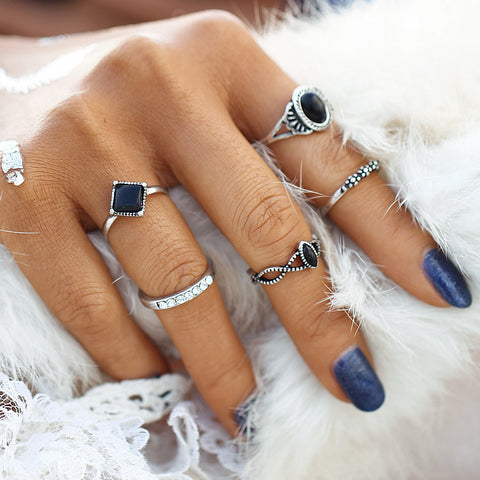 2017 New Fashion Tibetan Black Stone Lucky Artificial Stone Crystal Midi Rings Midi Ring for Women Punk Rings Set Gift   -d0527