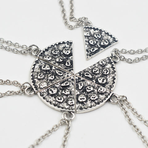 6pcs Pizza Pendant Necklaces Friendship Necklace Best Friends Forever Creative Keepsake Memorial Day Christmas Gift For Friend