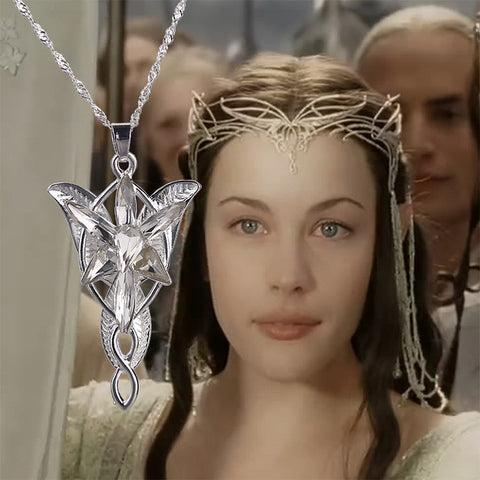 Movie The Hobbit  Lord of the Rings Silver Crystal Arwen's Evenstar Elf Princesses Pendant Necklace——Christmas Gift