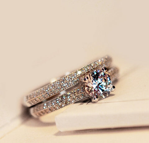 Fashion 925 Sterling silver simulated Diamond Women Wedding Ring