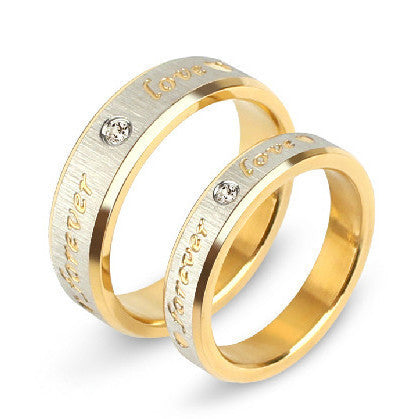 "Titanium Steel Yellow  Couples Rings Set With ""Love "" Word for Men Women Wedding Bands Rings"