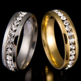Never Fade 18k Gold Plated 316l Stainless Steel Ring Titanium Steel Engagement Wedding Ring