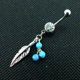 Fashion Turquoise Color Crystal Ball Belly Navel Button Bar Ring Barbell