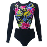Long Sleeve Swimwear High Waist Surfing Cut out one piece swimsuit