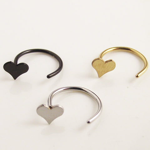 1Piece Love Heart Hoop Nose Rings Clip