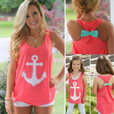 Summer Style Women Crop Top, Sexy Round Neck Back Bow Tank Top