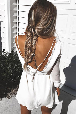 Sexy summer white Backless dress
