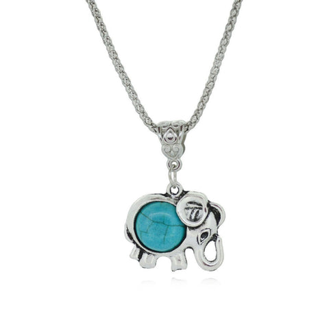 Silver Metal Turquoise Trendy Sweet Elephant Necklace