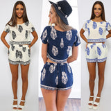 Summer Fashion Women Clothing Set Navy Blue White Crop Top And Shorts Sets 2 Pieces Bohemia Women Set