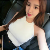 New women solid color Fashion sleeveless Halter strapless knit short paragraph bottoming Top