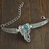Bohemia style Zinc Alloy with Synthetic Turquoise Elephant Bracelet