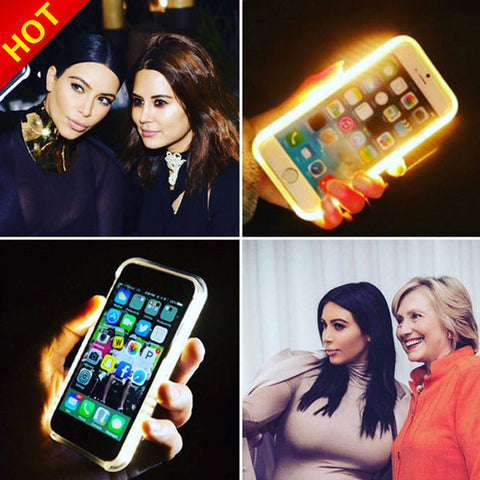 Fashion New Luxury Luminous Phone Cover LED Light Selfie Phone Case for iPhone 7 5 5S 6 6S 6 6S Plus