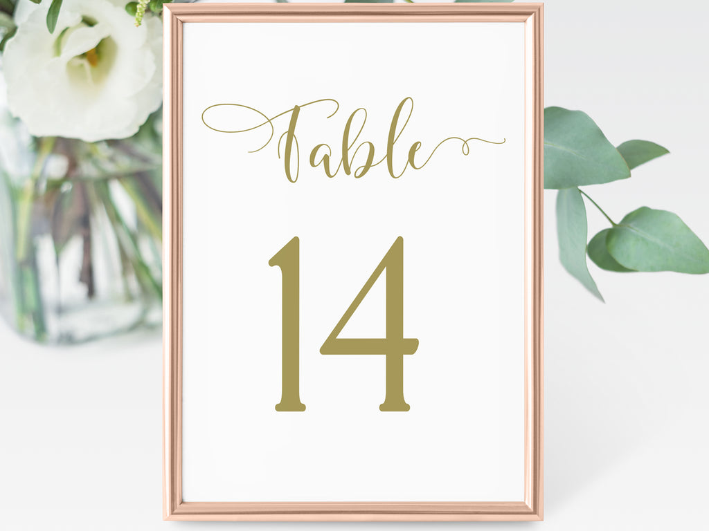 Gold Table Numbers | Wedding Decor by Long Shadow Paper Company