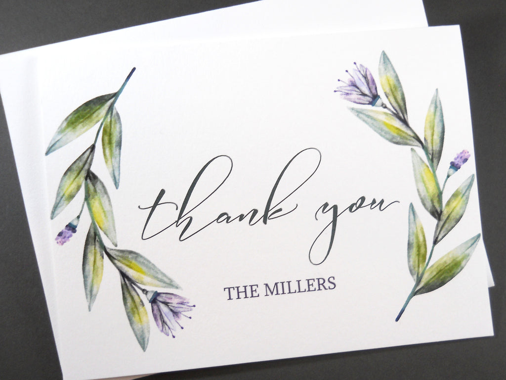 watercolor wreath personalized thank you card set set of 8 - Personalized Thank You Cards