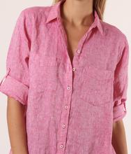 HUT - Boyfriend Linen Shirt - Pink Chambray