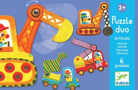Djeco Duo Puzzle - Vehicles - 6 Puzzles - 12 Pieces