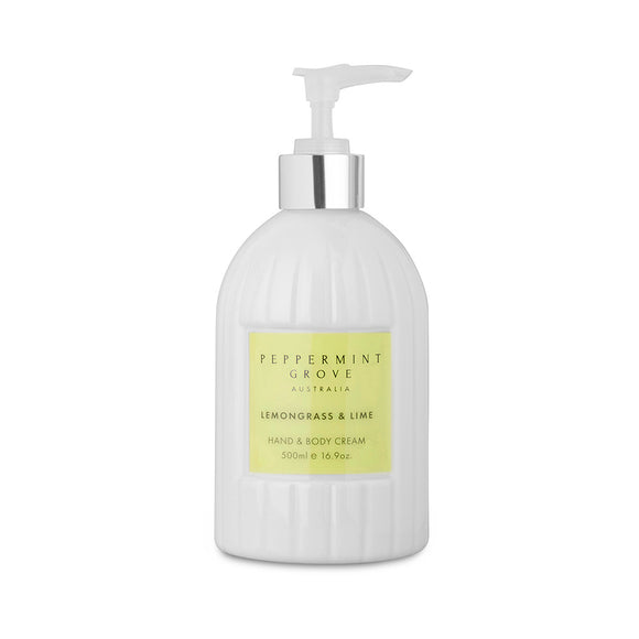 Peppermint Grove - Hand & Body Cream 500ml - Lemongrass & Lime