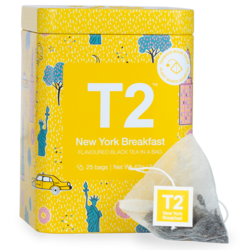 T2 Tea : Flavoured Black Tea In A Bag 25 Pack Icon Tin - New York Breakfast