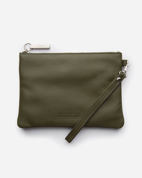 Stitch and Hide - Cassie Clutch - Olive