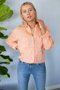 HUT - Boyfriend Linen Shirt - Orange Chambray
