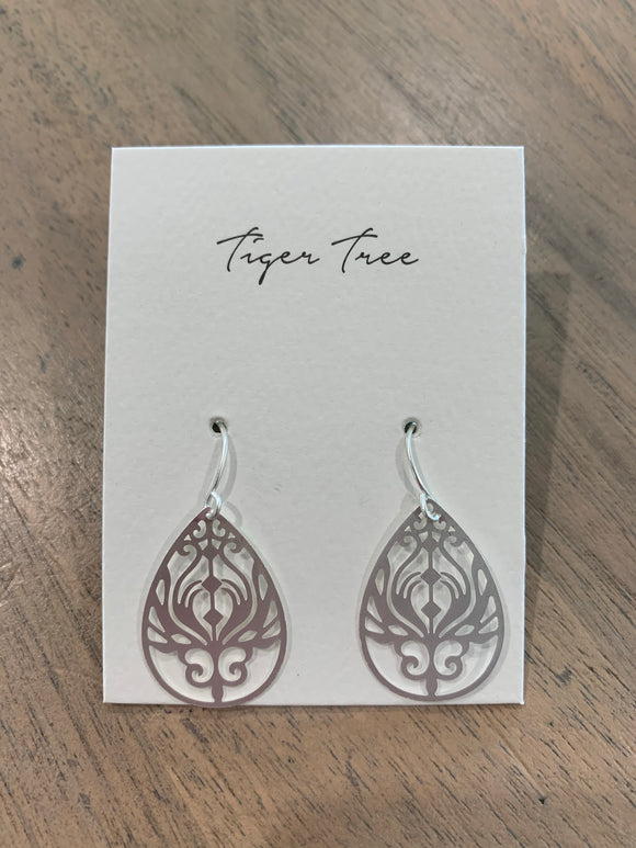 Tiger Tree Silver Mini Baroque Filigree Earrings - EKJ5094S