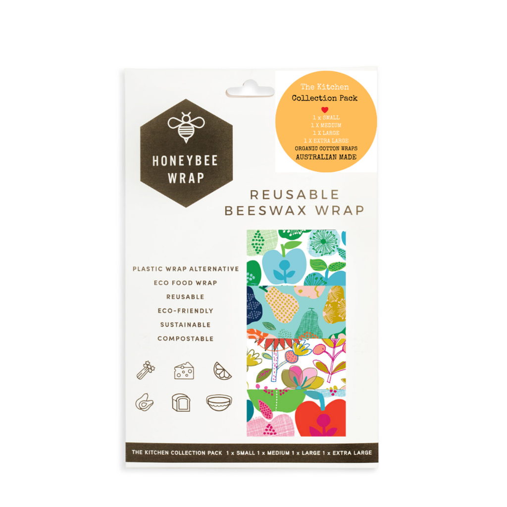 Honeybee Wraps Kitchen Collection Pack 4 Pack Wrapped Cootamundra