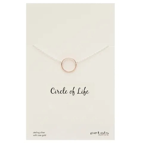 Circle of Life Necklace - Sterling Silver with Rose Gold