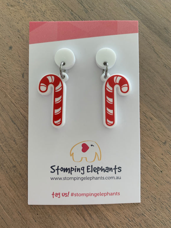 Stomping Elephants Christmas Dangle Earrings - 10