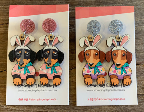 Dachshund Sausage Dog Easter Earrings